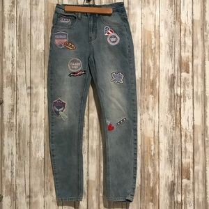 High Waisted Cotton On The Boyfriend Patch Jeans